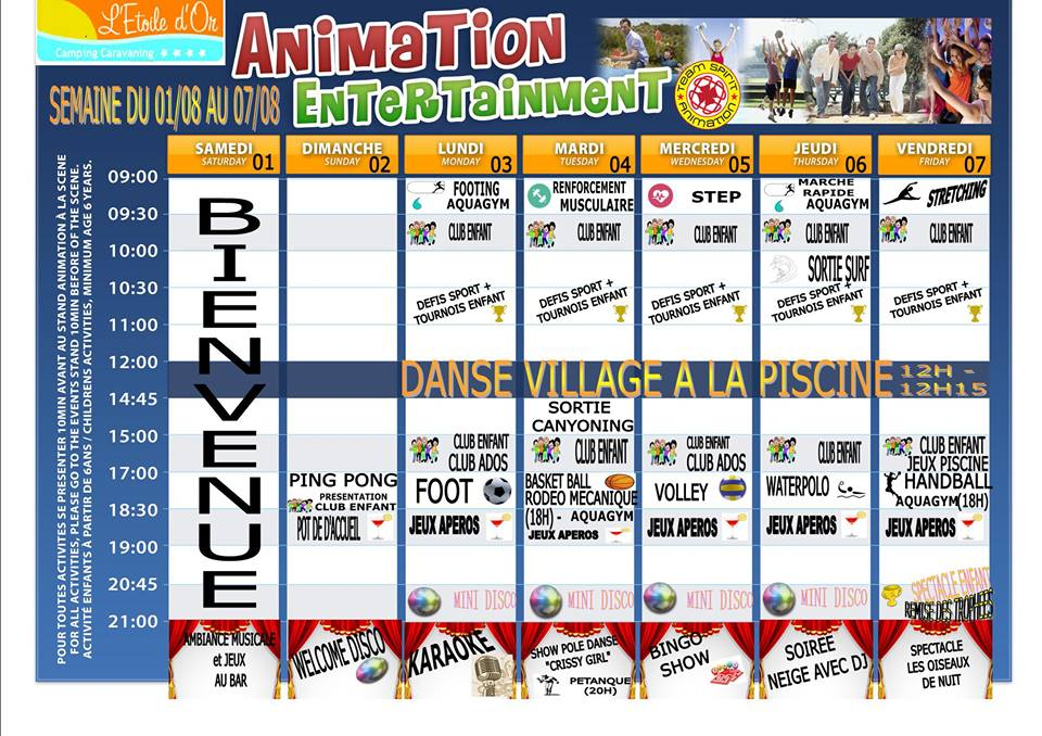 planning du camping etoile d'or